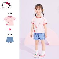 hellokitty女童短袖套装2021夏季新款短袖短裤宝宝儿童装两件套潮