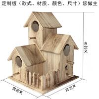 木质鸟房子繁殖箱文鸟玄凤虎皮牡丹鹦鹉鸟窝木屋鸟巢笼子
