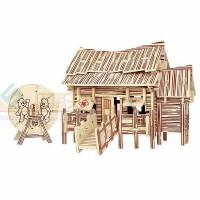 四联玩具建筑模型立体3D成人 儿童益智玩具环保GPH110伐木工小屋 熊出没