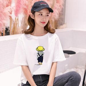 春夏新款韩版宽松短袖小人儿图案白色t恤女打底衫