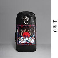 初�q中国风潮牌刺绣狮子头男女休闲骑行死飞机车胸单肩包43054