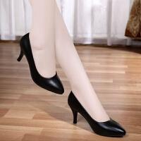 【软皮】工作鞋舒适职业高跟鞋四季春秋单鞋女中跟黑色女皮鞋