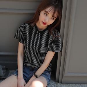 卡茗语2017夏装新款女黑白细横条纹T恤女修身显瘦学生百塔短袖体恤上衣