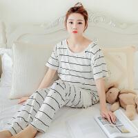 孕妇睡衣纯棉夏季短袖薄款哺乳睡衣外出大码月子服产后产妇喂奶衣 条纹短袖长裤