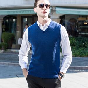 伯克龙 纯羊绒衫背心 男士商务纯色秋冬季薄款保暖针织衫修身马甲毛衣 Z7626【96.3%羊绒+3.7%羊毛】