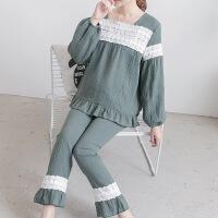 2018夏季透气纯棉纱布月子服薄款长袖大码孕妇睡衣哺乳套装1272
