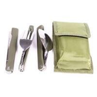 旅行用品 旅游三宝 刀子勺子叉子 三件套餐具组合组合军绿色餐具
