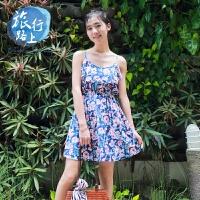 2018夏季波西米亚V领连衣裙海边沙滩裙吊带裙度假短裙女