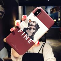 �L斗牛犬iphone6s手�C�ぬO果xs max硅�z8plus�W�t7p卡通�n女xr �O果X 酒�t字母斗牛犬