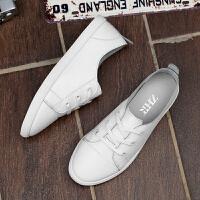 ZHR2018春季新款真皮小白鞋女韩版平底百搭休闲鞋学生撞色单鞋A18