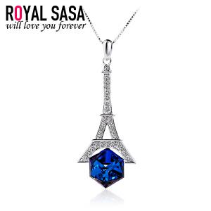 皇家莎莎925银项链吊坠女欧美巴黎铁塔吊坠气质埃菲尔铁塔锁骨链送女友