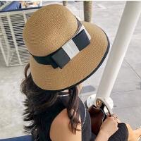 中年人帽子女夏天户外大沿防晒太阳帽简约休闲海边沙滩帽妈妈盆帽