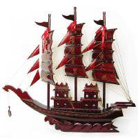 一帆风顺帆船摆件 红木工艺品 手工特大号110厘米实木制木船模型