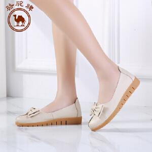 骆驼牌女鞋 春季新款舒适单鞋女士浅口平跟低帮套脚蝴蝶结鞋子