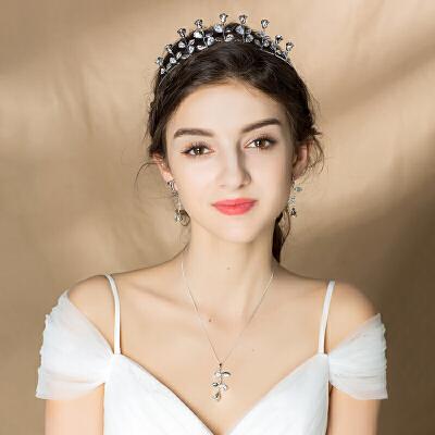 头饰新娘配饰皇冠项链耳环三件套森系发箍结婚纱发饰