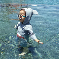 韩版新款鲨鱼1-4岁儿童连体泳衣男女童 可爱卡通连体泳装 中小童宝宝度假温泉游泳裤