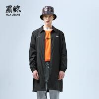 黑鲸 HLAJEANS印花中长款风衣男女同款2019春季新品轻薄外套