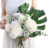 甜梦莱手捧仿真玫瑰绣球大号花束家居伴新娘结婚礼森系装饰摆件摄影道具
