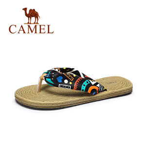Camel/骆驼女鞋 2017夏季新款甜美碎花人字拖女沙滩防滑优雅拖鞋