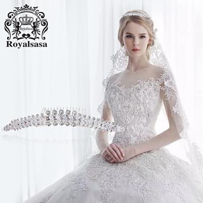 皇家莎莎新娘饰品皇冠插梳仿水晶手工公主头饰发冠头箍发梳首饰品 秋冬上新