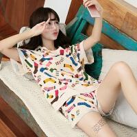 夏季睡衣女式 短袖韩版可爱卡通甜美薄款套装 家居服女士休闲 米黄色