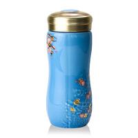 乾唐轩活瓷杯大梅花鎏金随身杯双层250ml 时尚礼品带盖泡茶水杯子