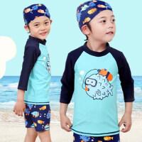 韩版新款男童男孩分体游泳裤儿童泳衣 长袖中大童韩国宝宝泳帽婴幼儿套装