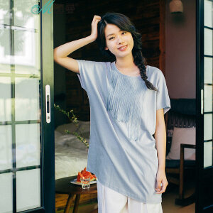 茵曼夏装新款纯棉不规则贴布斜摆蝙蝠袖恤女【1872022262】