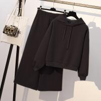 微胖妹妹秋冬季显瘦网红加绒卫衣大码女装洋气减龄阔腿裤两件套装