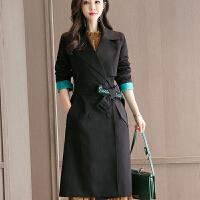 2018 新品外套女装秋季新品潮流时尚韩版修身显收中长款女式风衣性感潮流