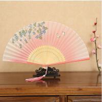 中国风扇子女士真丝折扇古风烤漆边工艺礼品扇 古典舞蹈小折叠扇