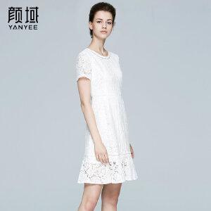 颜域品牌女装2017夏季新款简约收腰中长款荷叶摆短袖蕾丝连衣裙女