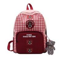 日系软妹可爱背包红格小熊双肩包卡通旅行背包学院风中小学生背包 图片色