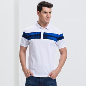 才子男装(TRIES)POLO衫  男士2017年新款创意图案拼接潮流时尚POLO衫