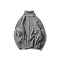 日系男装冬季复古百搭线衫宽松半高领毛衣男生线衣加厚套头针织衫 深灰色