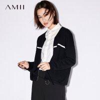 Amii利落帅气 落肩袖撞色毛衣女 秋新款棒球领外套