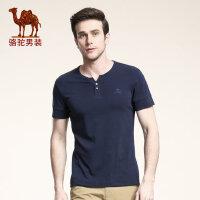 camel骆驼男装 夏季微弹V领短袖T恤 绣标修身青年休闲短袖体恤