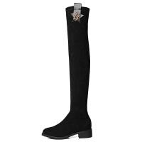 长筒靴女过膝2018秋冬新款小个力圆头平底性感粗跟高筒靴子 黑色