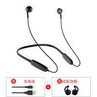 BS8无线运动蓝牙耳机头戴式跑步耳塞双耳入耳颈挂脖式 纯黑色 舒适苹果头 官方标配