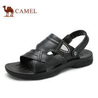 camel骆驼男鞋 夏季日常休闲沙滩鞋男 透气舒适厚底露趾牛皮凉鞋
