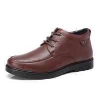 骆驼牌男鞋 冬季新品绒毛内里保暖男皮靴舒适柔软真皮男靴子
