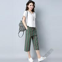 韩版女装短袖上衣阔腿裤棉麻两件套宽松大码气质条纹时尚套装