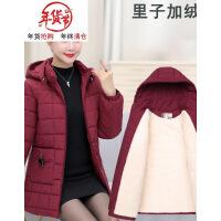 新款妈妈冬装棉衣女中老年棉袄加绒加厚外套中年人中长款大码