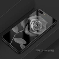 iphone6s plus苹果7 8plus手机壳玻璃软文艺玫瑰花简约欧美潮牌