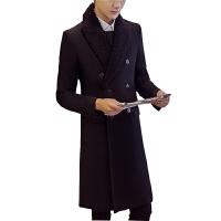 堡奈韩版毛呢大衣男中长款青年冬季韩版双排扣英伦风衣呢子外套潮