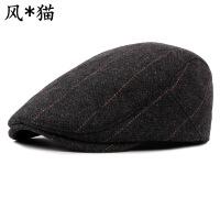 帽子秋冬季款男女士呢子贝雷帽英伦格纹休闲鸭舌帽男士贝雷帽批发