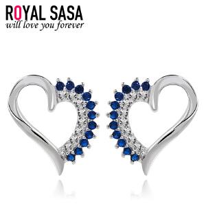 皇家莎莎S925银耳钉女时尚气质心形耳环日韩版简约百搭甜美耳饰品