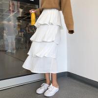 超火的裙子女秋冬新款韩版中长款百褶裙蛋糕裙高腰半身裙