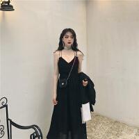 韩风气质V领女神吊带裙春装2019款女修身中长连衣裙小黑裙