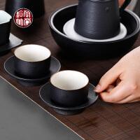茶杯单品功夫茶具品茗杯主人喝水小杯子带杯垫杯托套装粗陶瓷器